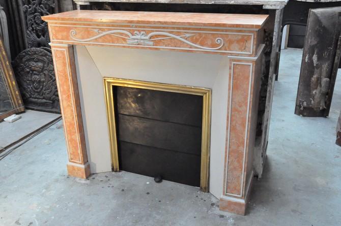Chemin e ancienne empire 19 eme si cle marbre orange achat vente daniel - Restaurer cheminee ancienne ...