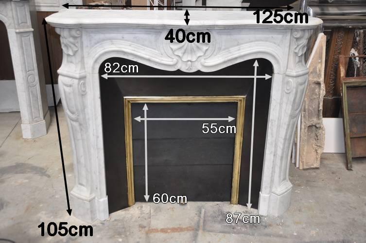 chemin e ancienne louis xvi 19 eme si cle marbre carrare. Black Bedroom Furniture Sets. Home Design Ideas
