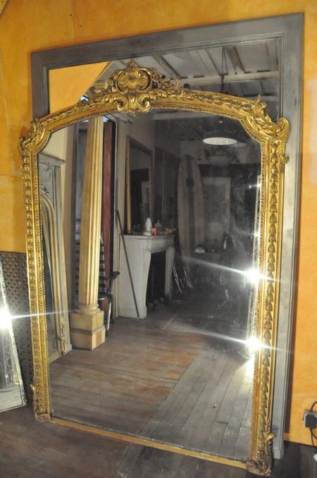 Miroir ancien Cadre Louis XV Glace au Mercure -Daniel MOREL.